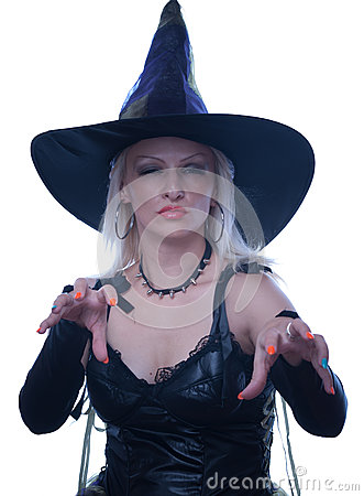Blonde witch casts a spell