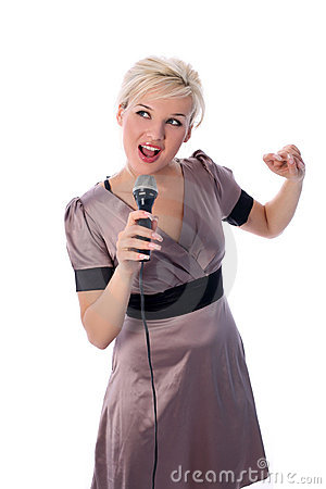 Free Blonde With Mic Royalty Free Stock Photos - 8189288