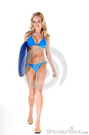 Blonde Woman In Blue Bikini With Skim Board