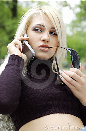 Blonde Woman on Cellphone
