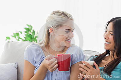 Blonde woman chatting with her friend