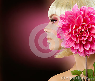 Blonde Woman with Dahlia Flower