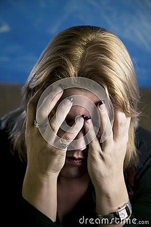 Blonde Woman In Despair Stock Image - Image: 3427701