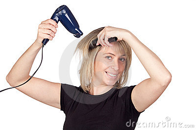 Blonde woman with a dryer