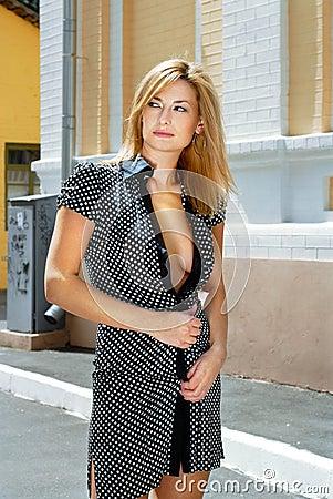 Blonde woman in hot spot