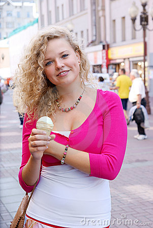 Blonde woman with ice cream