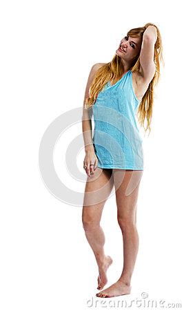 Blonde woman isolated on white in a T shirt