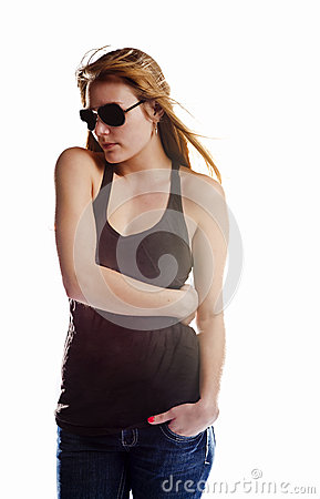 Blonde woman isolated on white in a T shirt and sun glasses