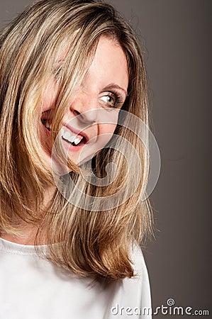 Blonde woman laugh