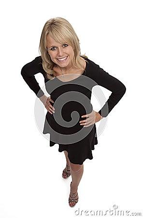 Blonde Woman in Little Black Dress