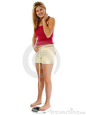 Free Blonde Woman On Scale Stock Photography - 818082