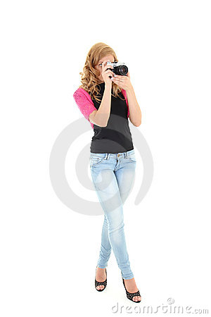 Blonde woman with retro camera