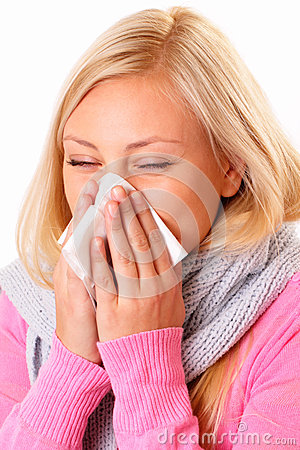 Blonde woman with rhinitis