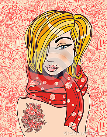 Blonde woman in a scarf on a floral background