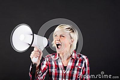 Blonde Woman Shouting Into Megaphone