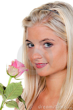 Blonde Woman With Single Rose