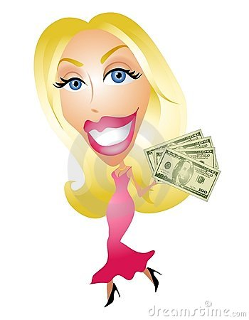 Blonde Woman Smiling With Money