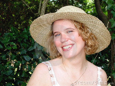 Blonde Woman in Straw Hat