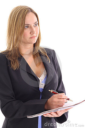 Blonde woman taking notes looking away