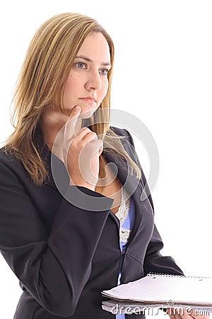 Blonde woman thinking upclose