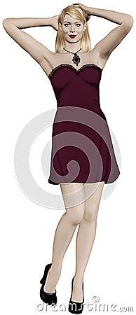 Blonde woman wearing beautiful red dress