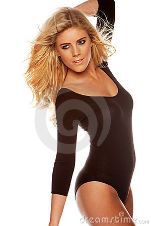 Blonde woman wearing brown leotards