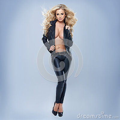 Free Blonde Woman Wearing Jacket Stock Image - 30080991