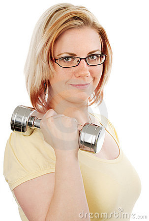 Blonde Woman with weights