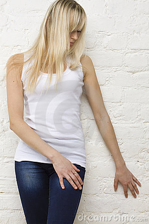 Blonde woman in white t-shirt
