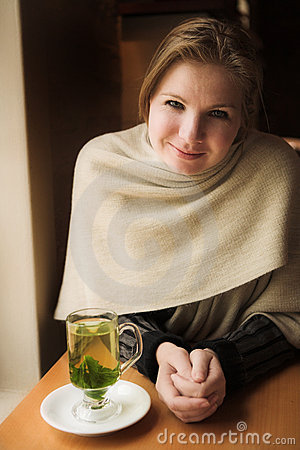 Free Blonde Woman With Mint Tea Royalty Free Stock Image - 2349006