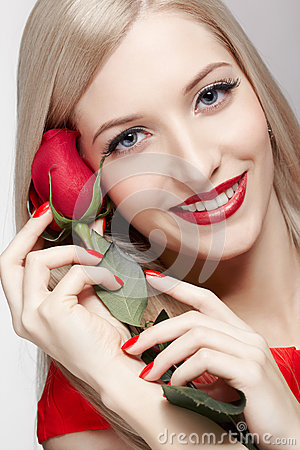 Free Blonde Woman With Rose Stock Images - 33166744