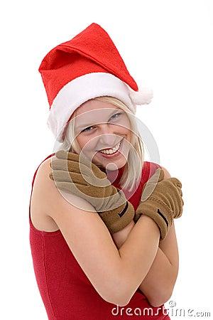Blonde women in a santa hat