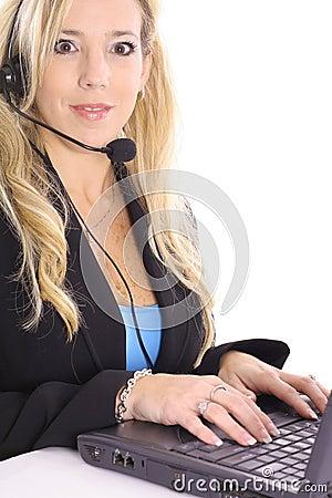 Blonde at work on computer