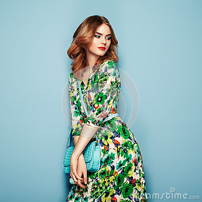 Free Blonde Young Woman In Floral Spring Summer Dress Stock Photos - 92218123