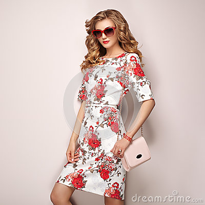 Free Blonde Young Woman In Floral Spring Summer Dress Royalty Free Stock Photos - 92978878