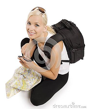 Blonder Tourist mit gps