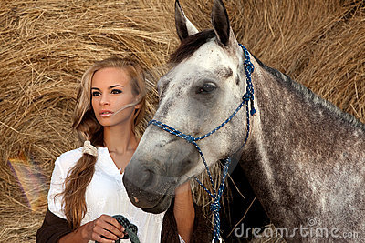 Blondie girl and horse