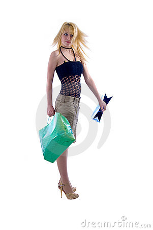 Blondie Girl and Shopping Bags.
