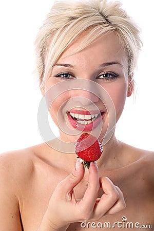 Blondie with strawberry