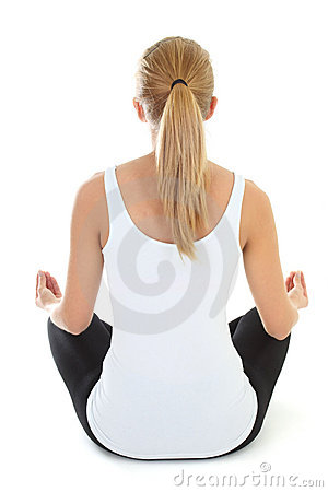 Blondie woman doing yoga  over white