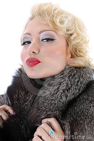 Blondie woman with fur collar kissing