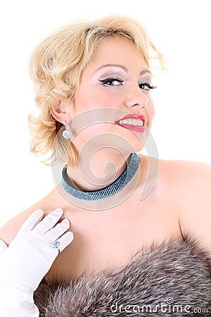 Blondie woman with fur flirting