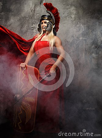 Free Blong Roman Woman In Red Dress. Royalty Free Stock Images - 112950489