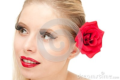 Blong Woman with rose isolated
