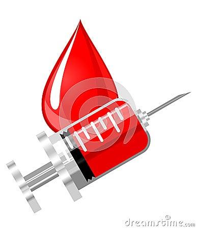 Blood drop and syringe