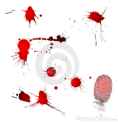 Blood drops and fingerprint
