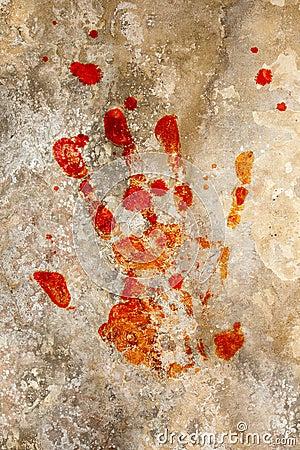 Blood hand on grunge