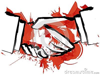 Blood hand shake