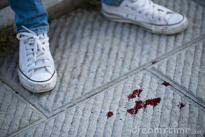 Blood on pavement