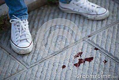 Blood on pavement